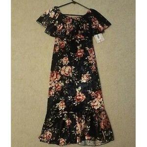 LulaRoe Cici Dress, Navy Floral Velvet